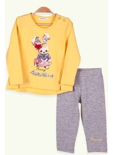 Breeze Kız Çocuk Taytlı Takım Minik Tavşan Baskılı Sarı (1-4 Yaş) Sarı
